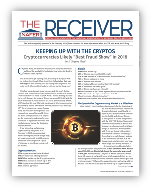 Mr. Hays article re cryptocurrencies cover
